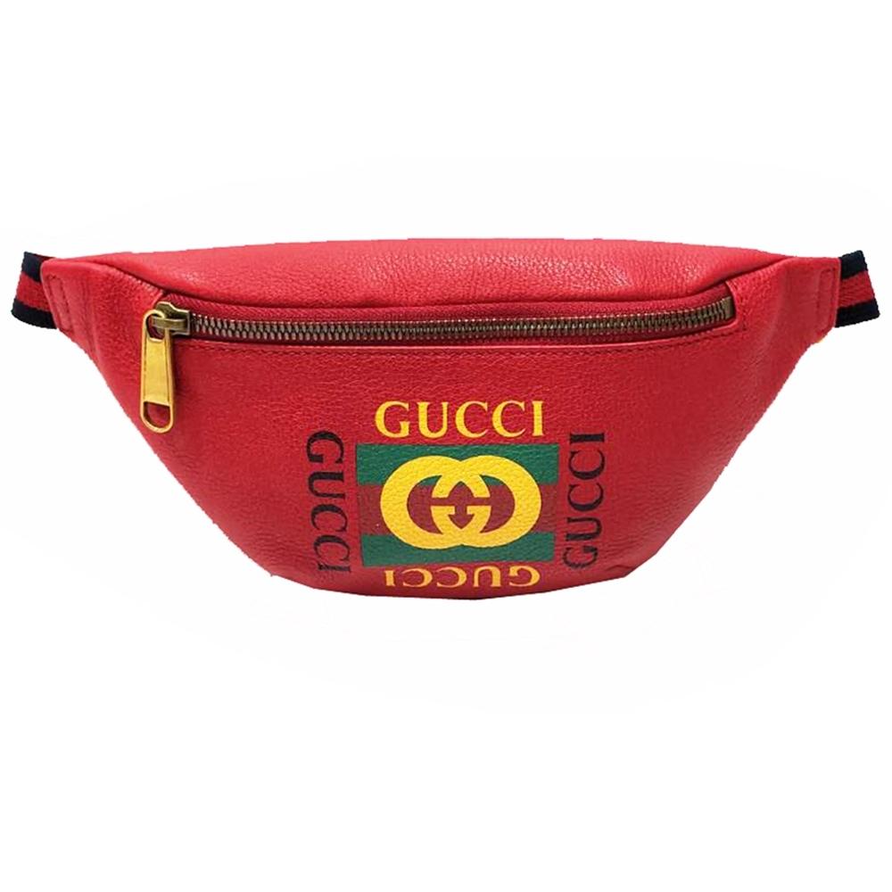 GUCCI 復古風格的圖案小牛皮綠紅綠織帶腰包/斜背包(紅色-小)