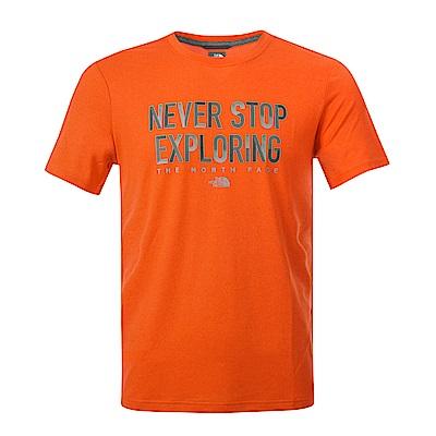 The North Face北面男款橙色印花吸濕透氣短袖T恤 3RGMUUQ