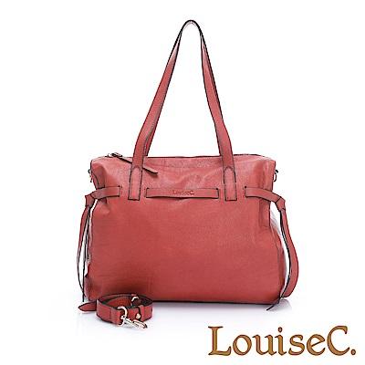 LouiseC.全真皮大容量都會肩背包-磚紅色02C01-0068A01