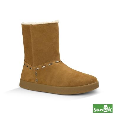 SANUK 麂皮內鋪羊毛中筒靴-女款(褐色)