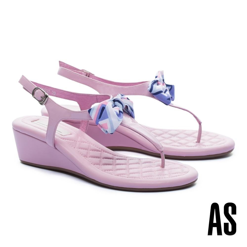 涼鞋 AS 率性甜美蝴蝶結T字繫帶楔型高跟涼鞋-粉