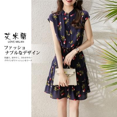 艾米蘭-韓版氣質溫柔立領櫻桃圖案造型洋裝-藏青(M-XL)