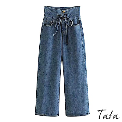 高腰繫帶排扣牛仔寬褲 TATA