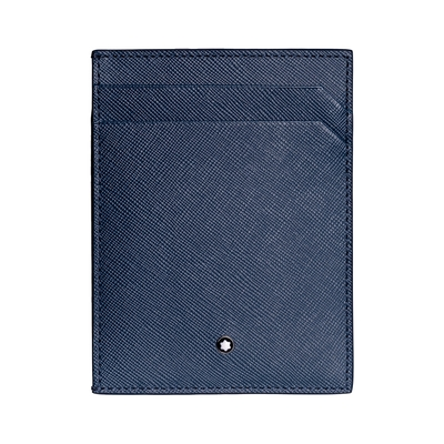 Montblanc 萬寶龍 匠心系列牛皮6卡卡夾(附證件袋)-藍