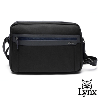 Lynx - 美國山貓進口牛皮mix防潑水時尚型男側背包