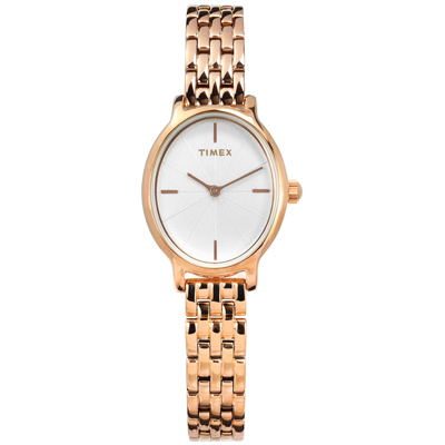 TIMEX 天美時 美國品牌 復刻優雅 橢圓形面板 不鏽鋼手錶-銀白x鍍玫瑰金/24mm