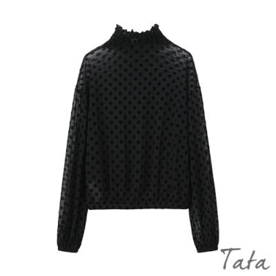 絨面點點縮口袖上衣 TATA-(M/L)