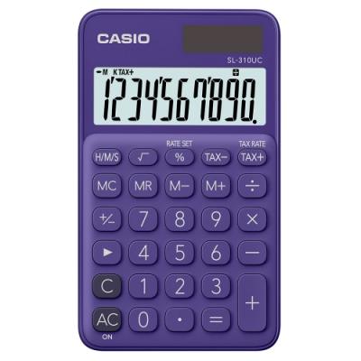 CASIO 10位元甜美馬卡龍輕巧口袋型計算機(SL-310UC-PL )-葡萄紫