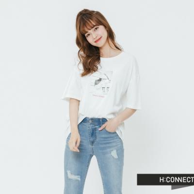 H:CONNECT 韓國品牌 女裝 -標語圖印棉質T-shirt-白(快)