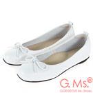 G.Ms. MIT系列-牛皮蝴蝶結方頭娃娃鞋-白色