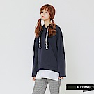 H:CONNECT 韓國品牌 女裝-印字抽繩拼接帽T-藍