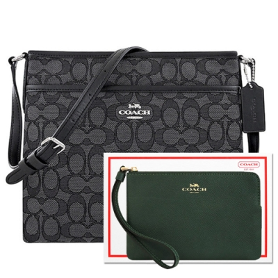 COACH 黑色大C織紋斜背包+墨綠色防刮皮革手拿包