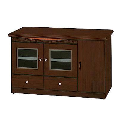 綠活居 莫莉時尚4尺木紋三門電視櫃/視聽櫃-120x45x72cm-免組