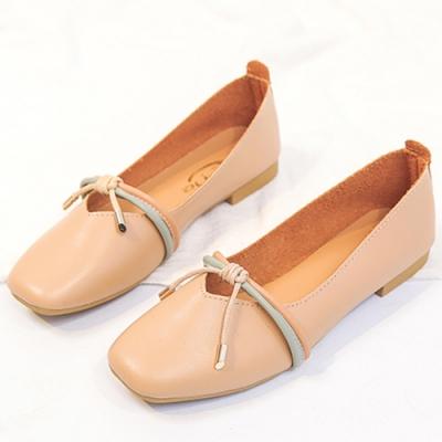 KEITH-WILL時尚鞋館 韓式名媛舒適自在方頭鞋-米