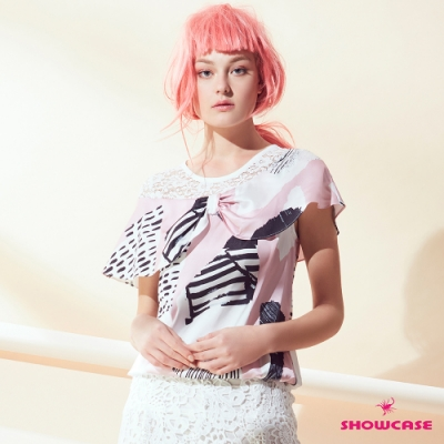 【SHOWCASE】蕾絲肩拼接幾何印花蓋袖綁帶雪紡上衣(粉)
