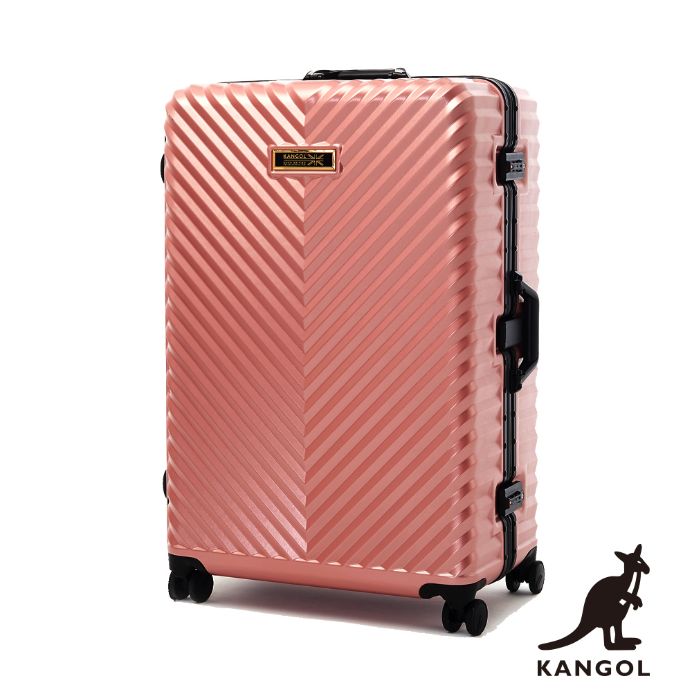 KANGOL-水漾波光 立體V紋髮絲100% PC鋁框輕量行李箱28吋 - 時尚粉玫