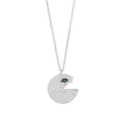 apm MONACO法國精品珠寶 閃耀銀色鑲鋯PAC項鍊