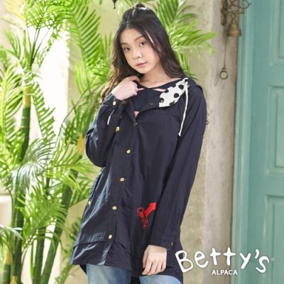 betty's貝蒂思 連帽抽繩刺繡鈕釦大衣(深藍)