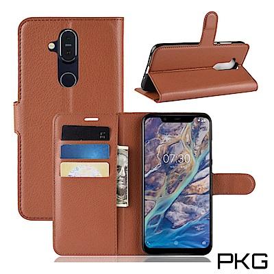 PKG Nokia 8.<b>1</b> 側翻式-精選皮套-經典款式-棕