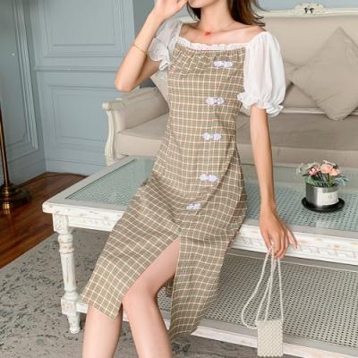 甜美花邊方領復古盤扣格紋開衩洋裝L-4XL-KVOLL