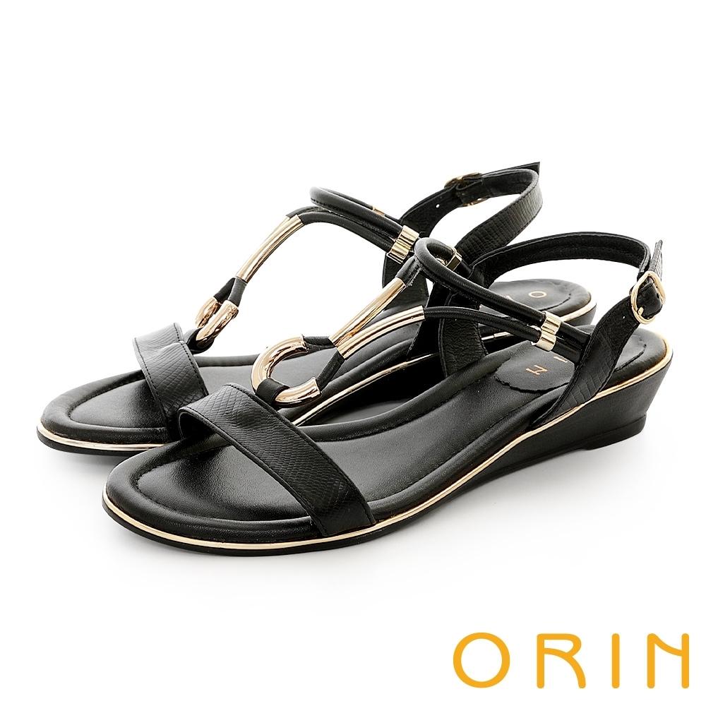 ORIN 皮革金屬U環飾釦涼鞋 黑色