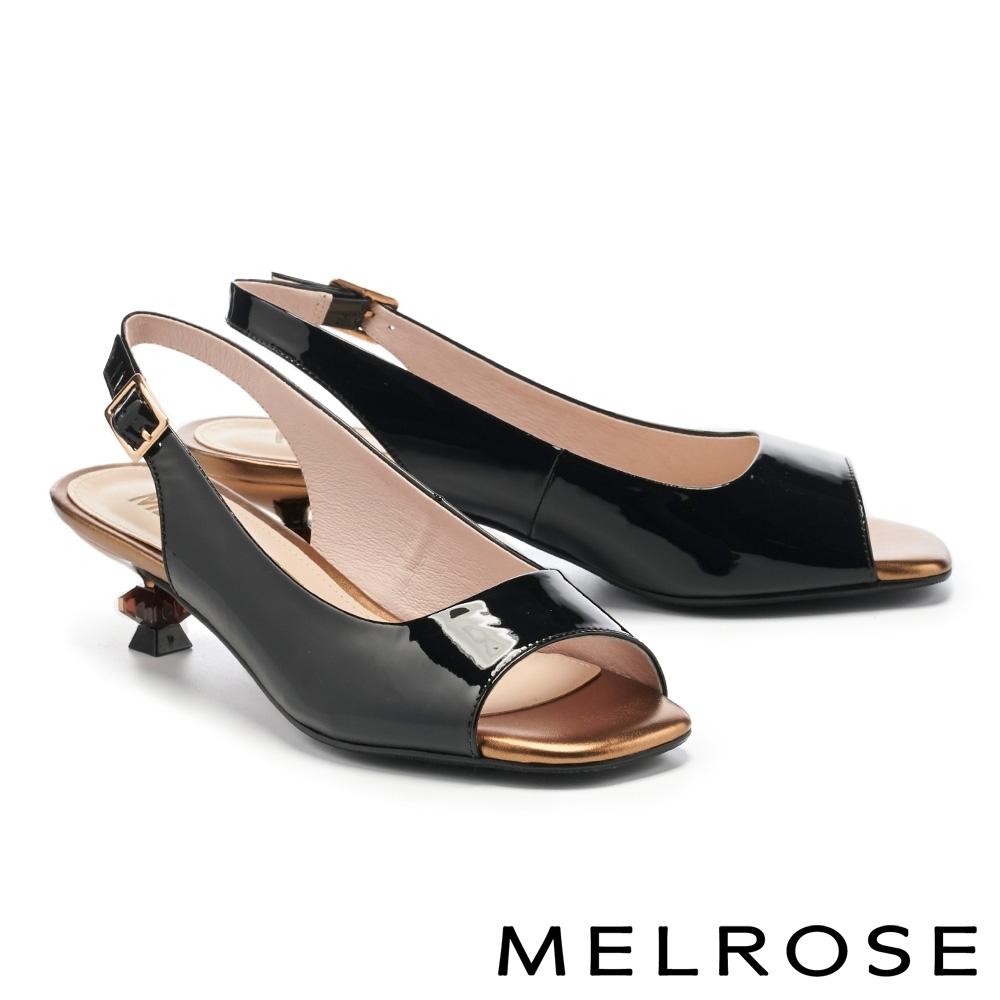 高跟鞋 MELROSE 質感時髦牛漆皮方頭魚口高跟鞋-黑