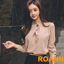 OL慵懶風縷空露背純色雪紡襯衫 (共三色)-ROANN