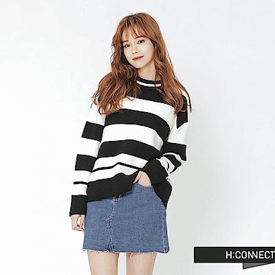 H:CONNECT 韓國品牌 女裝-寬條滾邊針織上衣-黑