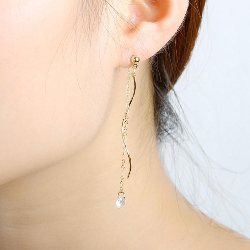 Hera 赫拉 925銀針S型長波浪鋯石耳環-2款