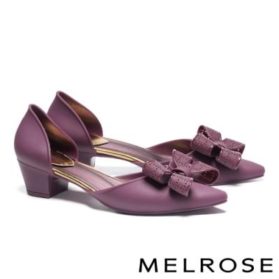 高跟鞋 MELROSE 氣質典雅蝴蝶結造型尖頭高跟鞋-紫