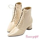 Grace gift X Rui-聯名綁帶尖頭中跟短靴 杏
