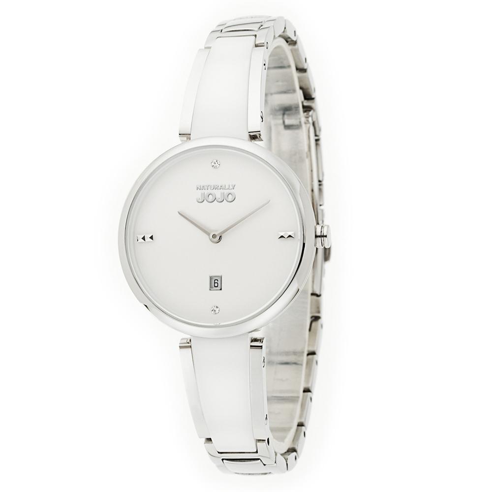NATURALLY JOJO 小清新陶瓷不鏽鋼鍊錶-白陶30mm