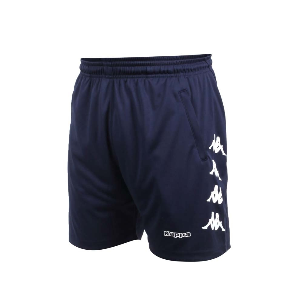 KAPPA 男針織短褲-慢跑 路跑 五分褲 台灣製 吸濕排汗 運動 31199SW-B29 丈青白