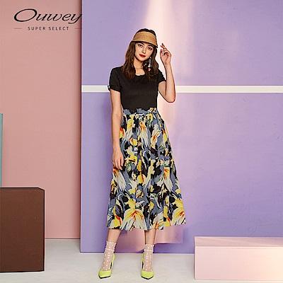 OUWEY歐薇 典雅繪畫印花洋裝(黑)
