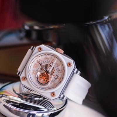 ROMAGO 碳霸系列 超級碳纖自動機械腕錶 - 白色/46.5mm