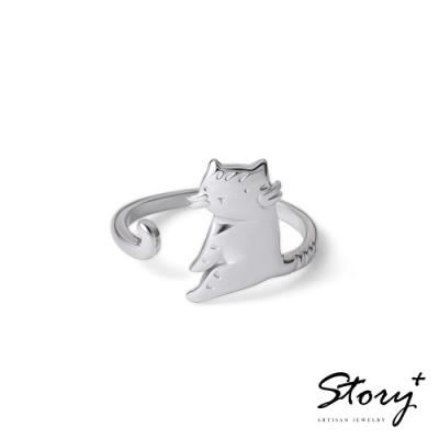 STORY故事銀飾-貓小姐系列-妳還有我純銀貓戒指