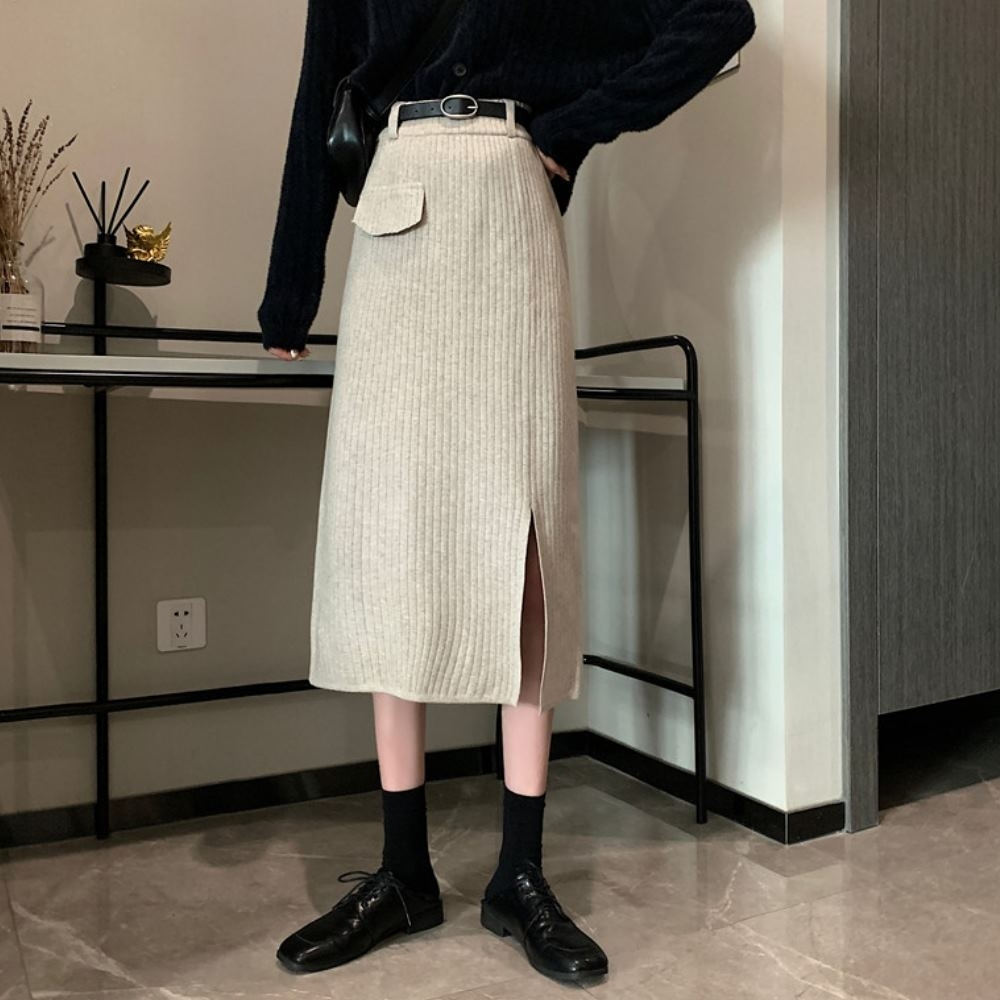 La Belleza鬆緊腰單假口袋側開叉坑條針織裙過膝中長裙附腰帶 product image 1