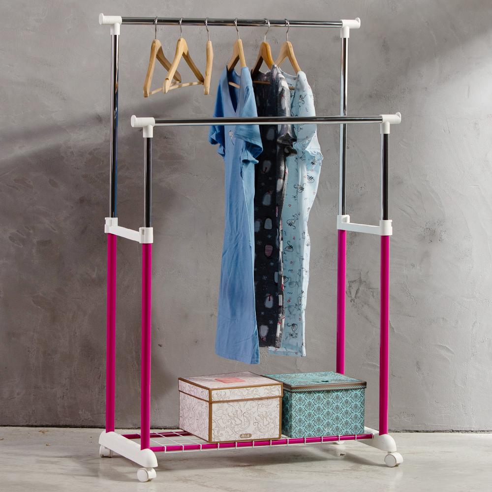 【日居良品】MIT馬卡龍雙桿附置物底網雙桿伸縮曬衣架/曬衣桿(台灣製 外銷好品質)
