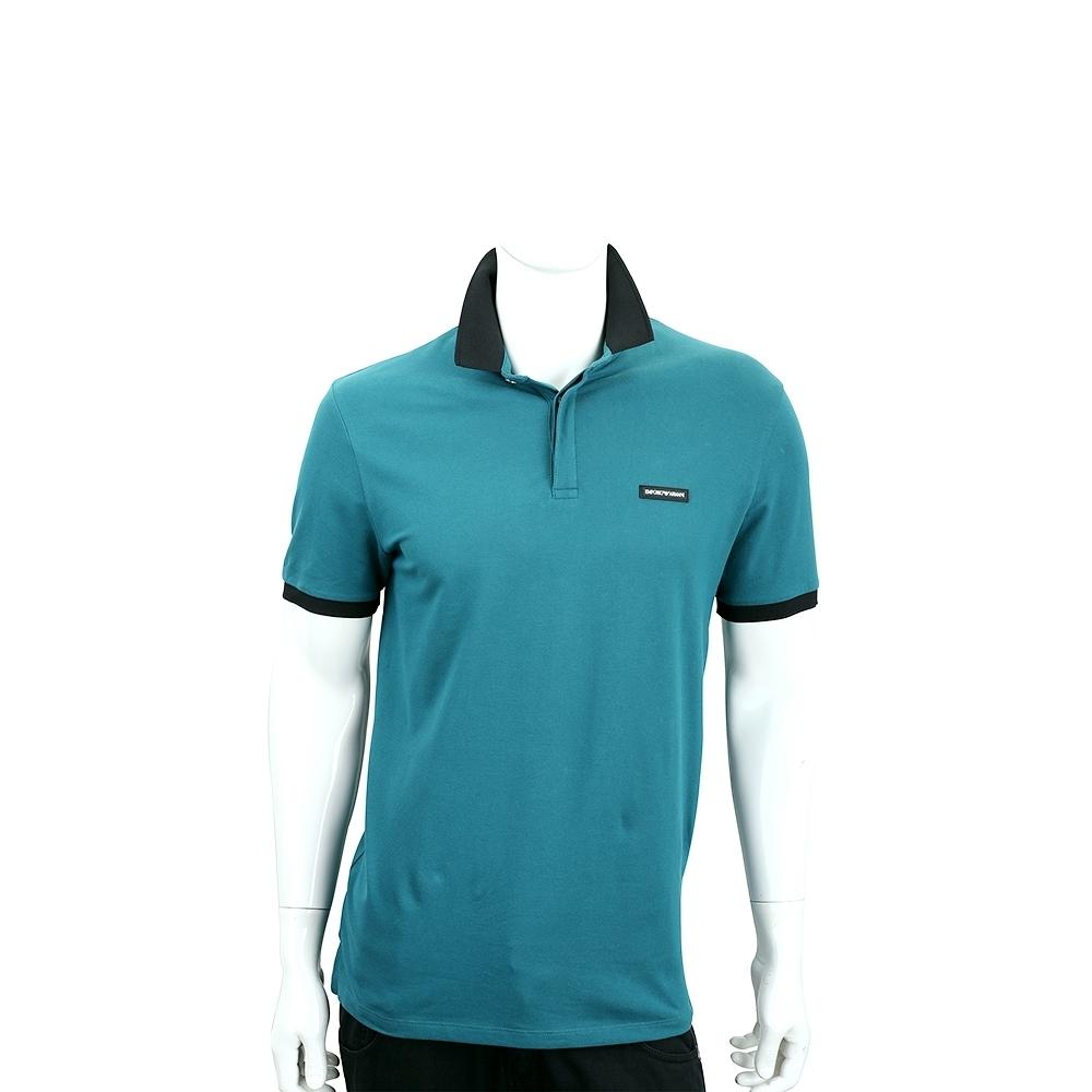 Emporio Armani 字母徽標藍綠色撞色短袖POLO衫(男款)