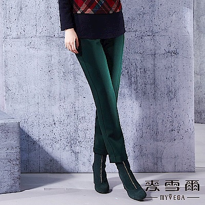 【麥雪爾】極簡素面前後雙口袋長褲-綠