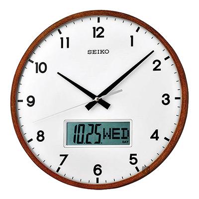 SEIKO精工 指針電子雙顯掛鐘(QXL008B)-33cm