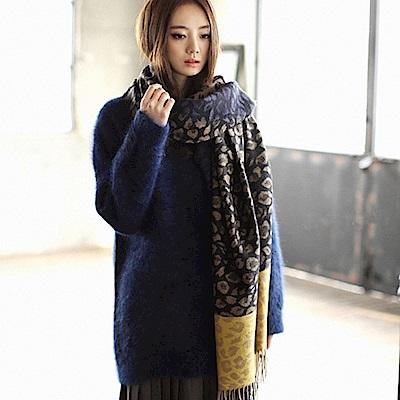 梨花HaNA  韓國仿羊絨質感撞色都會女伶豹紋雙色圍巾
