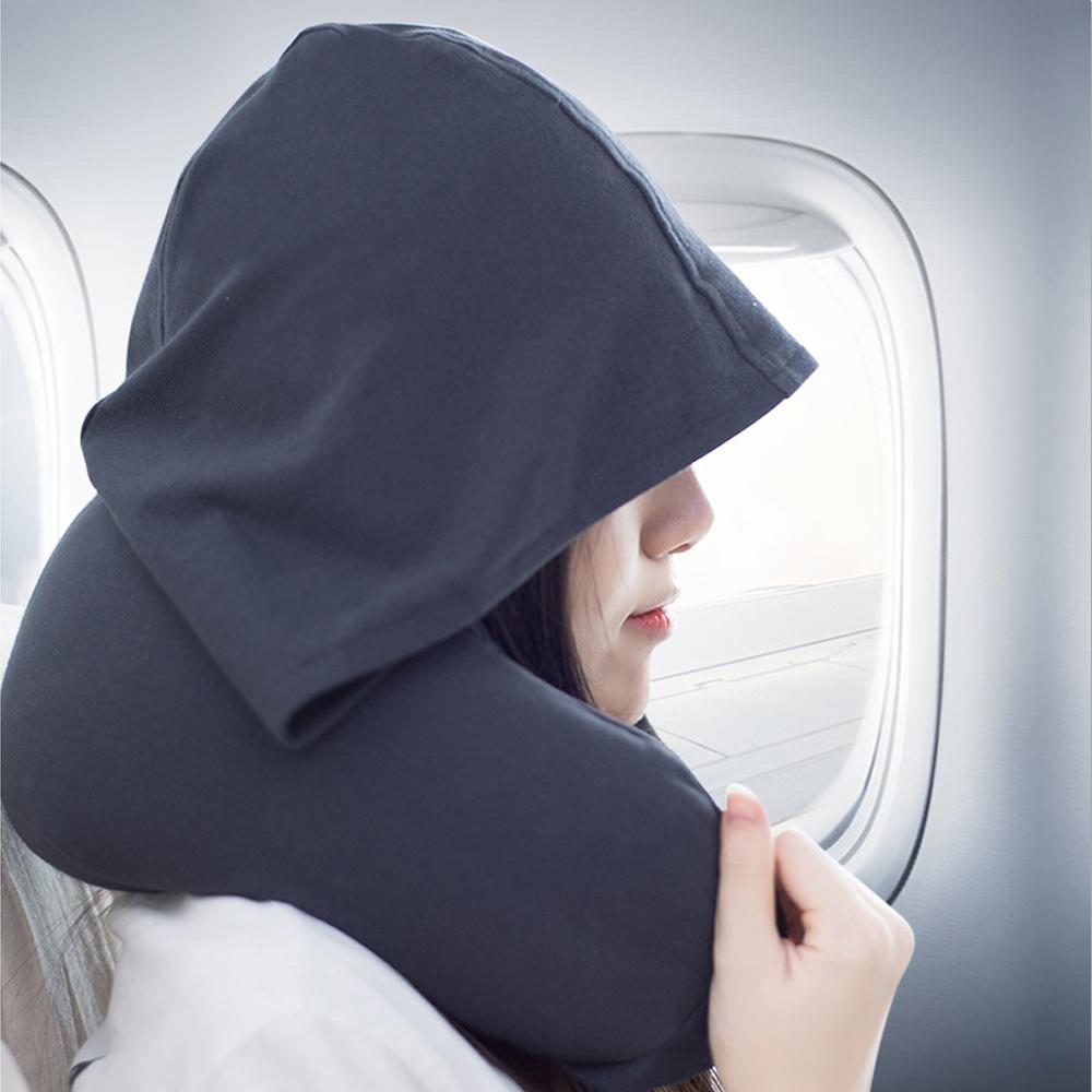 PUSH!旅遊用品飛機帶帽旅行枕U型頸枕S66