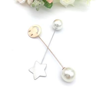 Hera 赫拉 韓國防走光微笑星星珍珠配飾別針/胸針-2入組