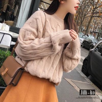 JILLI-KO 韓版麻花紋微高領寬鬆針織上衣- 淺卡/粉