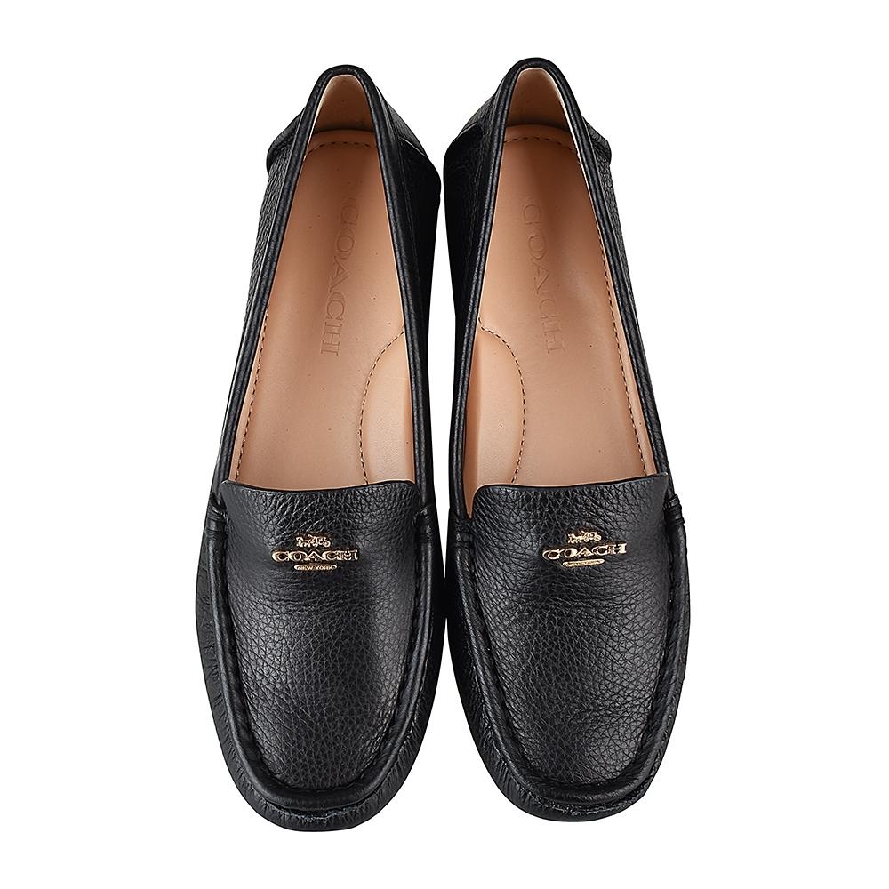 COACH專櫃款 Marley Driver金字馬車LOGO牛皮平底鞋(黑)