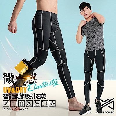 【Run Power】微光感織線速乾運動褲/男性專用(灰白)