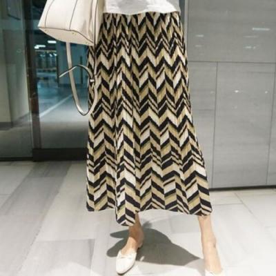 La Belleza黑色腰頭波紋波浪箭型印花百摺長裙(有內裡)