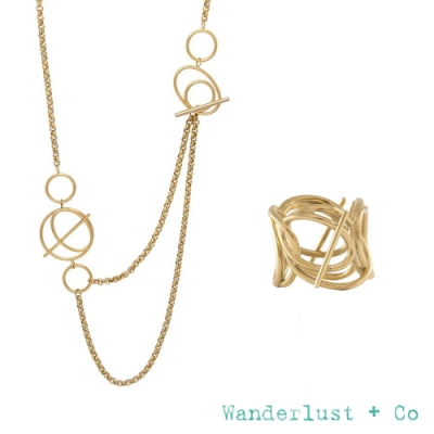Wanderlust+Co 官方精緻禮盒 幾何星軌鍍18K金長項鍊+層次星軌金戒指