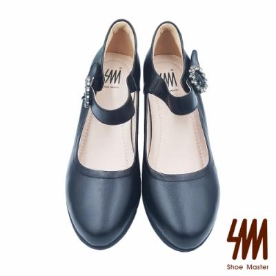 【SM】低調簡約圓頭一字帶水鑽圓扣低跟淑女鞋